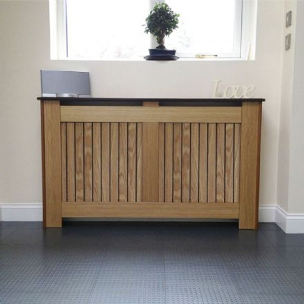 Oak Veneer radiator cover with horizontal or vertical grille finish coated with lacquer.